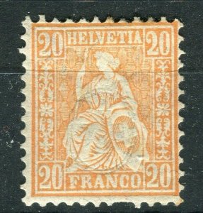 SWITZERLAND; 1881 classic Sitting Helvetia issue fine Mint hinged Shade of 20c.