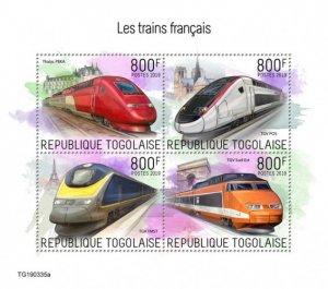 TOGO- 2019 - French Trains - Perf 4v Sheet - MNH