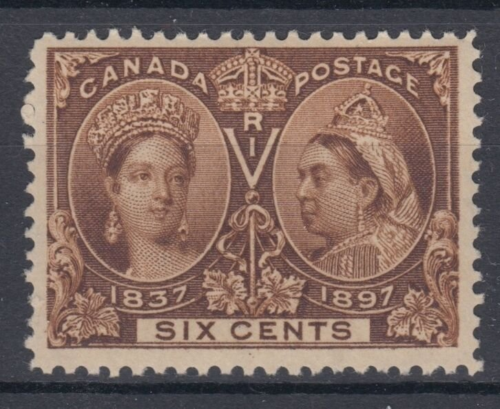 #55 SIX cent Jubilee F+VF MNH Cat $600 Canada mint