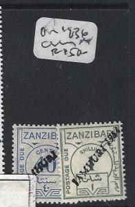 ZANZIBAR (P0405B) POSTAGE DUE JAMHURI LOCAL OVPT ON 1936 STAMPS 40C, 1/-  MNH