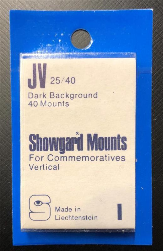 Stamp Mounts Supplies Showgard New 40 mounts 25mm by 40mm Black back Precut