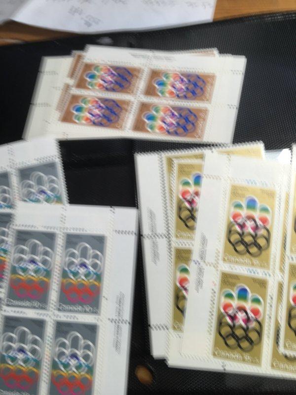 Canada USC #B1-3 Mint VF-NH 1974 Olympic Semi-Postal MS Imprint Blocks Cat. $44.