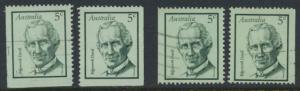 Australia  Sc# 446  Edgeworth Davis  1968  Used x4  Booklet stamps see details