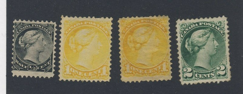4x Canada MNG Stamps Victoria Small Queen #34-1/2c 2x #35-1c #36-2c GV= $150.00
