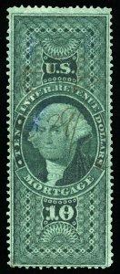 B313 U.S. Revenue Scott R95c $10 Mortgage, manuscript cancel, SCV = $40