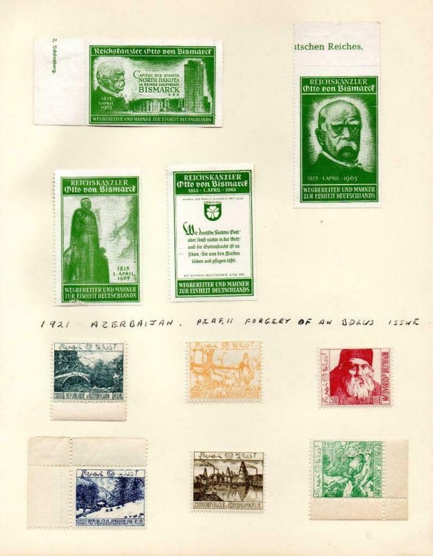 COLLECTION OF CINDERELLAS, REPRINTS ETC (GERMANY & AZERBAIJAN)