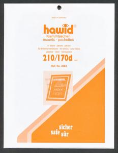 Hawid Stamp Mounts Size 210/170d CLEAR Background Pack of 5