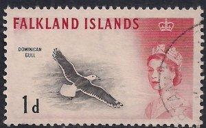 Falkland Island 1960 - 66 QE2 1d Black Backed Gull SG 194 ( F1339 )