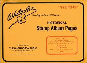 WHITE ACE 2017 US Regular Issue Plate Blocks Album Supplement USR-PB48