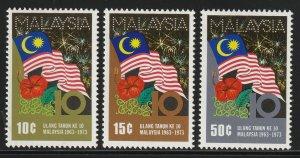 MALAYSIA 1973 Anniversary of Malaysia set of 3V MLH SG#105-107