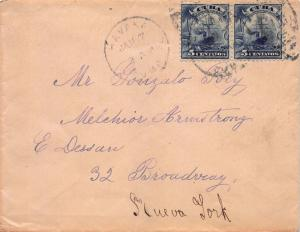 Cuba, U.S. Administration, Scott #230 pair on Cover to New York City