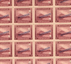 NICARAGUA *SPECIMEN* 1c Mountain 1900 Series BLOCK {35} UM MNH {samwells}MB13