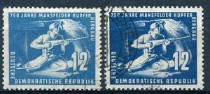 GDR Mi 273 and 273b  blue and dark blue VF EUR 150