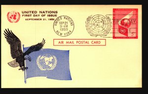 UN 1959 5c Postal Card FDC / Nice Cachet - L3771
