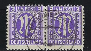 Germany AM Post Scott # 3N2a, used, pair