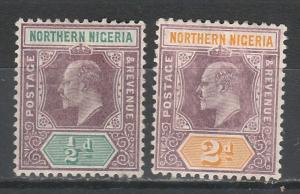 NORTHERN NIGERIA 1905 KEVII 1/2D AND 2D WMK MULTI CROWN CA