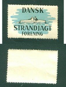 Denmark. Poster Stamp. Inshore Shooting Association, Boat,Hunter.