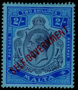 MALTA SG111, 2s purple & blue/blue, LH MINT. Cat £250. WMK CROWNS.