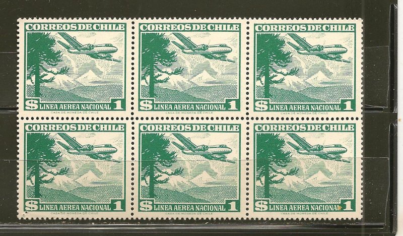 Chile C138 Airmail Block of 6 MNH