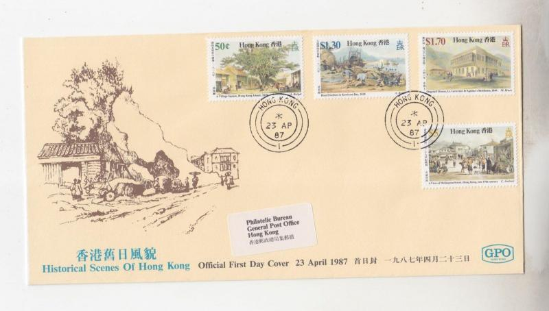 HONG KONG,1987 Historical Scenes set of 4 on fdc.