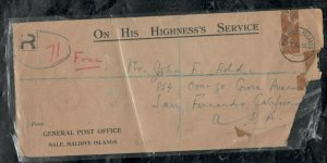 MALDIVE ISLANDS COVER (PP0301B) 1955 OHMS STAMPLESS REG TO USA