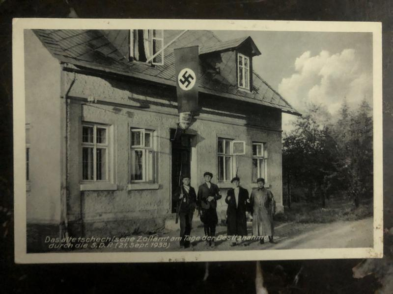1938 Rossbach Germany RPPC Postcard Cover Fuhrer old czech customs office