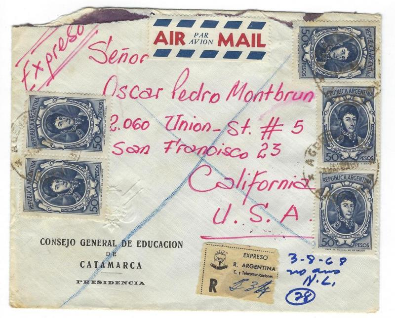 1968 Argentina To USA Registered Express Airmail - Education General (RR100)