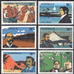 Australia Scott #630-35 Australian Explorers,  Set of 6 Mint NH OG VF