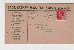 England 1937 Woodford Cancel Page Calnan & Co Ltd Stamps Cover to Essex Rf 31820