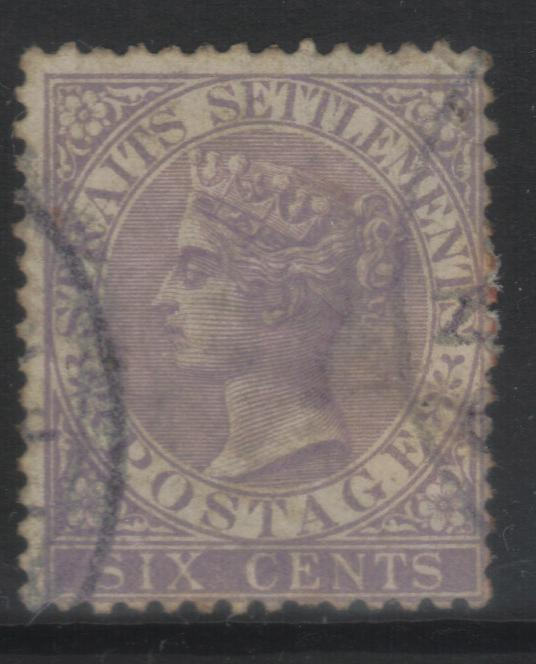 STRAITS SETTLEMENTS 1867-1872 CROWN CC SG13 USED CAT £22