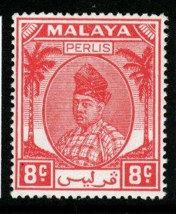 MALAYA PERLIS SG13 1951 8c SCARLET MNH