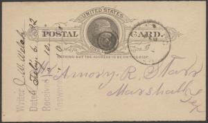 TEXAS COMANCHE COUNTY (1892 Newburg) DPO Dead Post Office 1885-1908