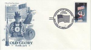 2003 Carving Woman w/Flag  (Scott 3780) Artcraft Old Glory  FDC