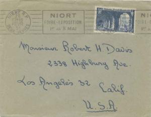 France 25F St. Wandrille Abbey 1951 Niort R.P, Deux-Sevres Noirt Foire-Exposi...
