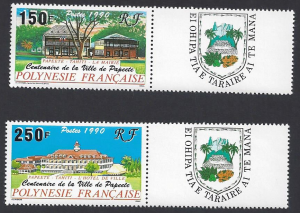 French Polynesia #538-9 MNH, set, Papeete village centenary, issued 1990
