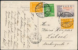 1930 Helsinki Finland Graf Zeppelin LZ 127 Postcard Cover to Germany # C1
