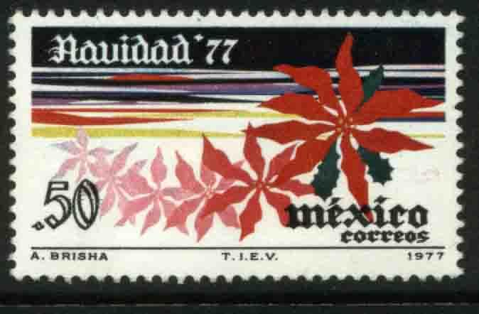 MEXICO 1159, 50¢ First Christmas stamp, Poinsettia. MINT, NH. VF.