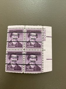 RARE Mint NH PRECANCELED XF Plate Block Scott #1052a  PORTLAND OR