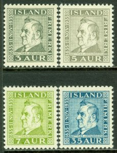 EDW1949SELL : ICELAND 1935 Scott #195-98 Complete set. VF, Mint NH. Catalog $130