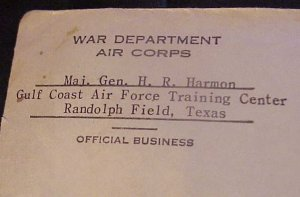 1942 WAR DEPARTMENT AIR CORPS OFFICIAL BUSINESS MAJ. GENERAL H.R. HARMON