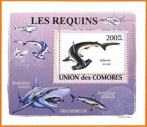 A5593 - COMOROS - ERROR, 2009 MISPERF SOUVENIR SHEET: Hammer Sharks, Marine Life