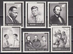 Manama, Mi cat. 99-104 A. Human Rights issue. President Kennedy. ^