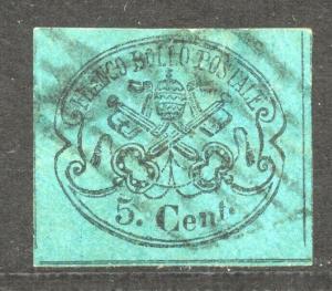 Italy, Rom States, 1867 Scott # 14, the 5 C. black on light blue, VF + used