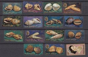 J28391, 1974-5 cook islands short set mnh #381-394, 398 queen sea shells