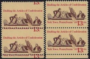 1726 - 13c Huge Misperf Error / EFO Bottom Pair Continental Congress Mint NH