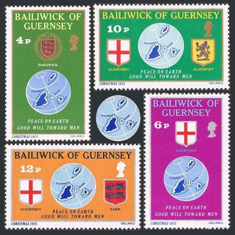 Guernsey 127-130,MNH.Michel 125-128. Christmas 1975.Globe,Map,Flags,Arms