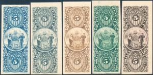 TURNER REVENUE ESSAY #77-A $5.00 DELAWARE DESIGN SET/5 COLORS XF-SUPERB HV3948