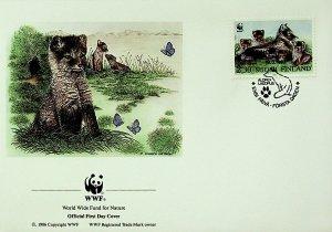 Finland FDC Arctic Fox & Pups WWF 1993