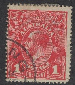 AUSTRALIA SG21d 1917 1d CARMINE-RED DIE II USED
