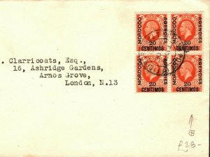 MOROCCO AGENCIES KGV Cover 20c Block{4} Tangier GB London {samwells-covers}PB330